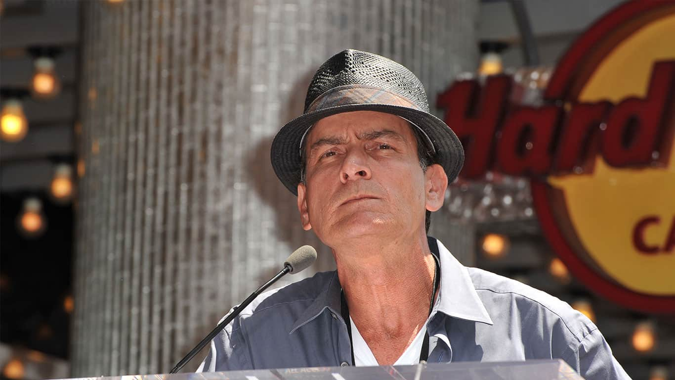 Charlie Sheen wearing Brown Panama Hat at the Hard Rock Cafe