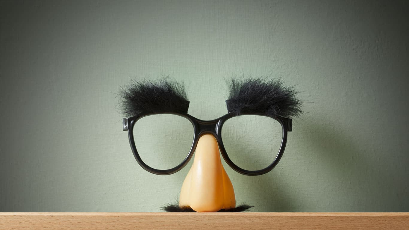 Funny glasses on the shelf