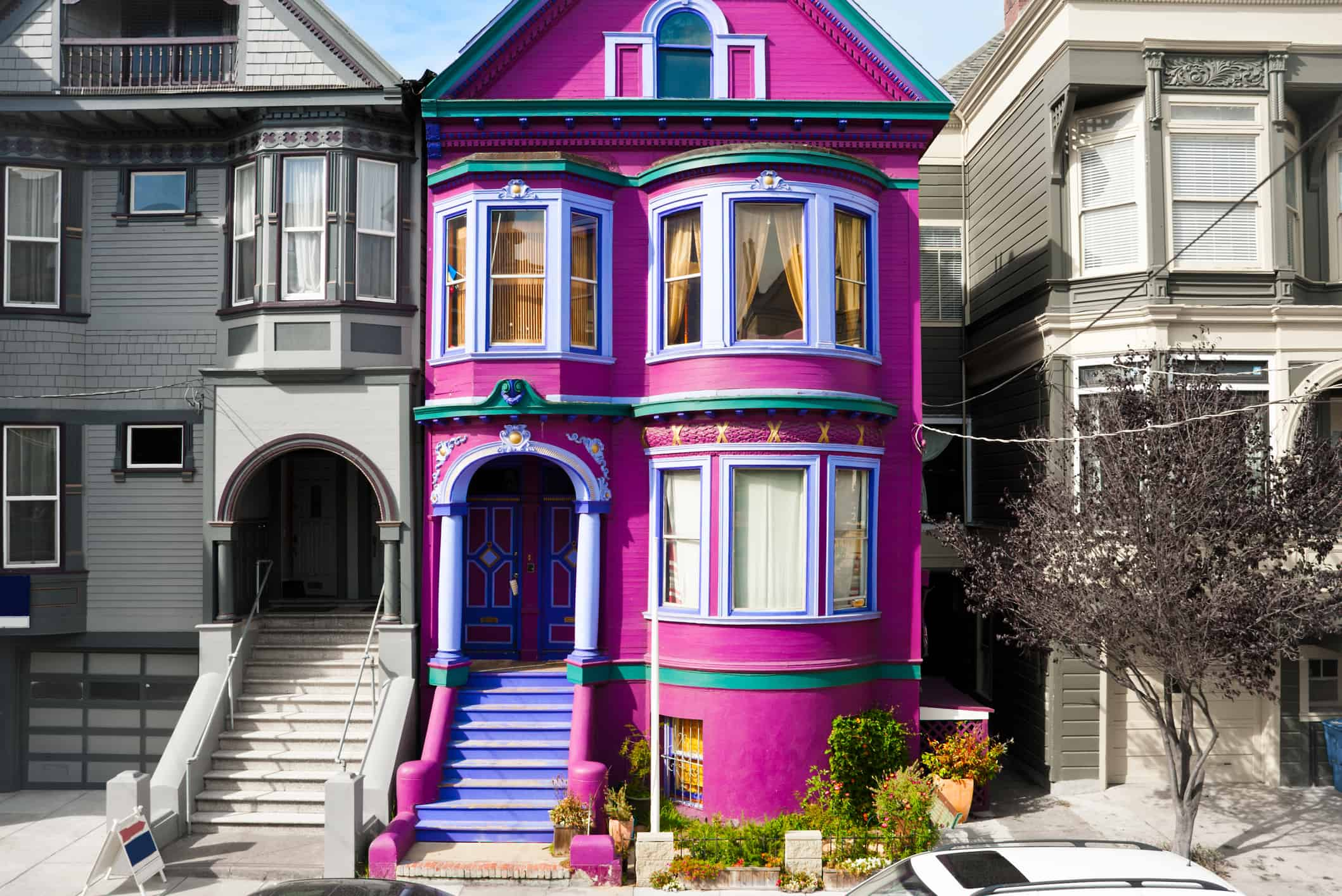 Purple house in San Francisco with decreased value