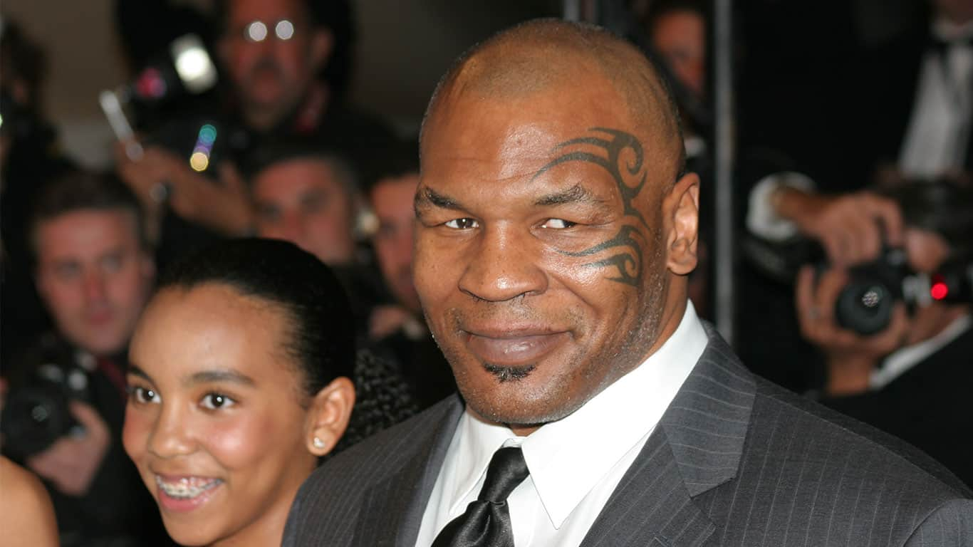 Mike Tyson in a suit at the Palais des Festivals during the 61st Cannes International Film Festival