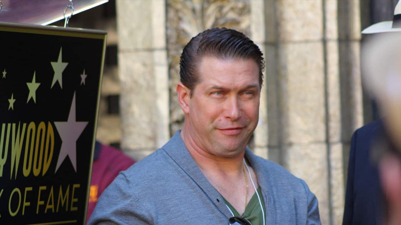 Steven Baldwin wearing a gray cardigan sweater at the Walk of Fame ceremony