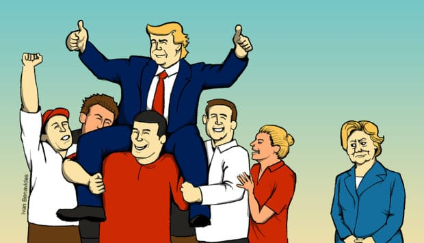 Illustration of President Trump hoisted up on his followers' shoulders, while Hillary Clinton looks up at him.