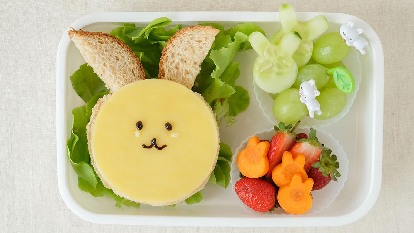 Bunny rabbit Easter lunch box, fun food art for kids