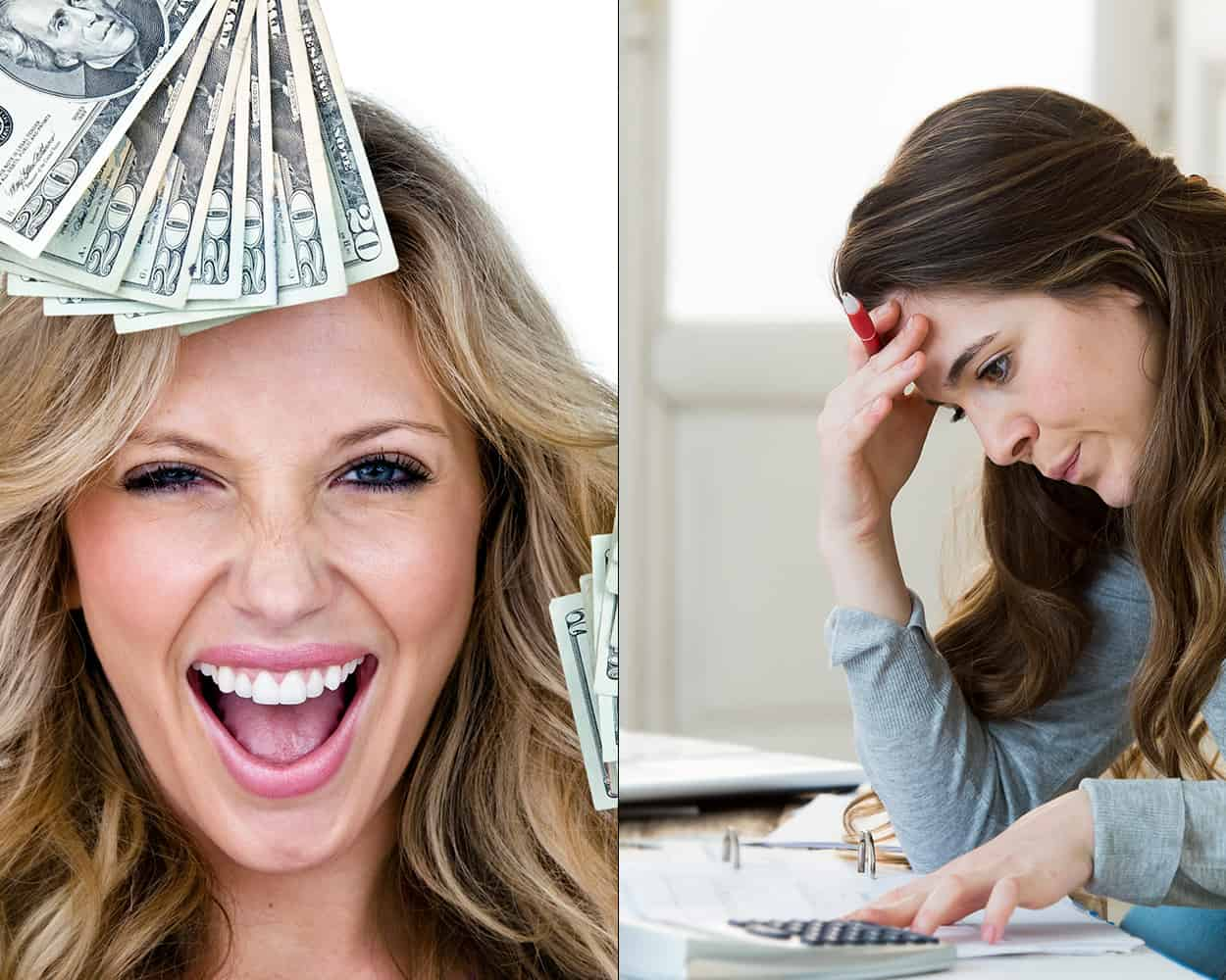 Woman Stressed and Happy about Money
