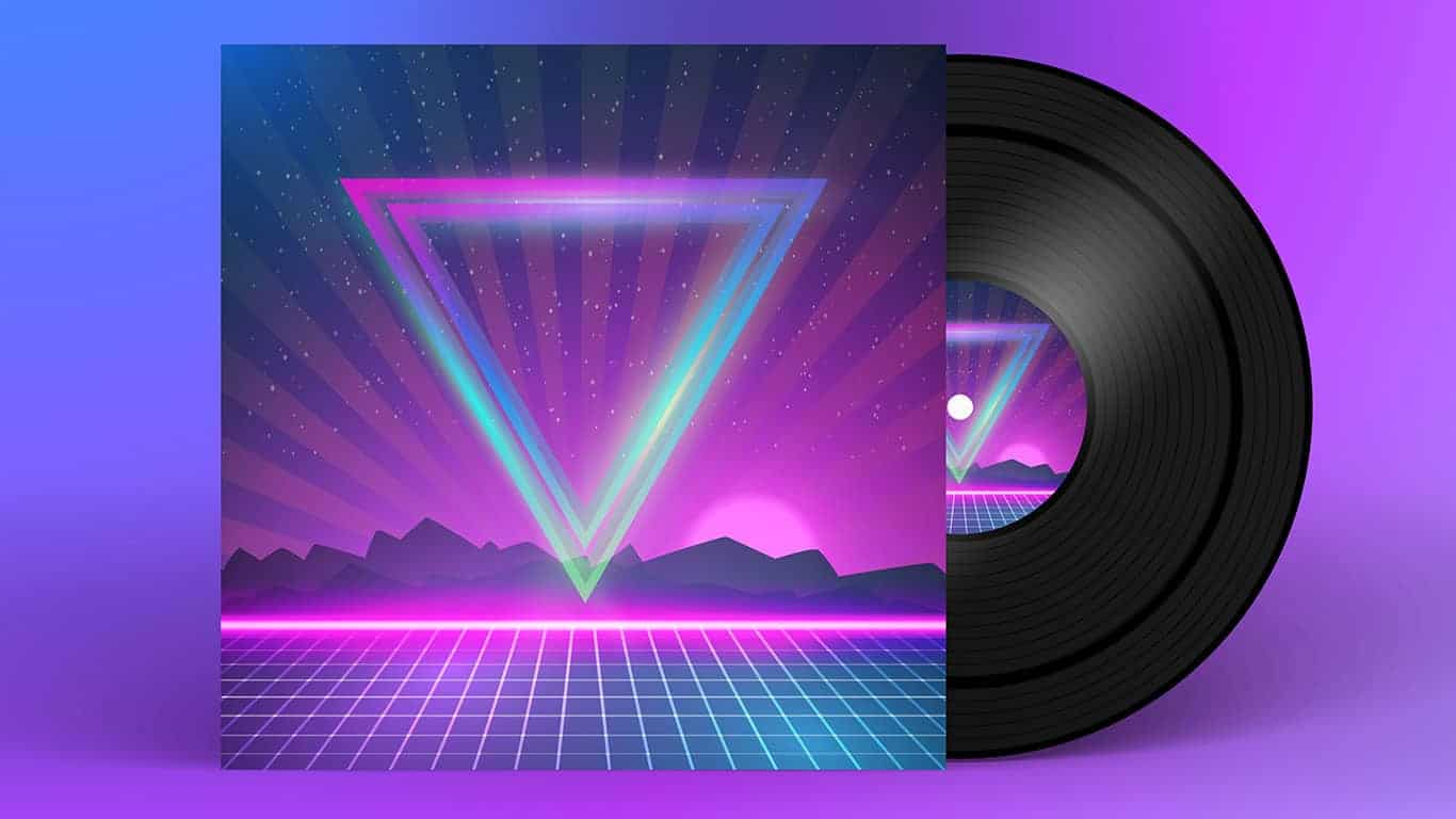 Illustration of Retro Vinyl Record 1980s Style Cover with Neon Lights and Abstract Triangles