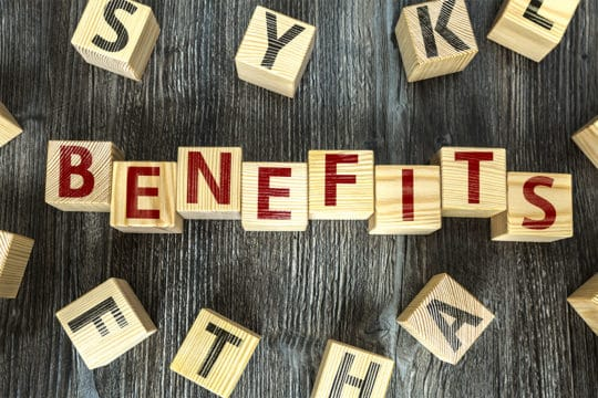 Benefits sign. Hidden homeowner and car insurance benefits.