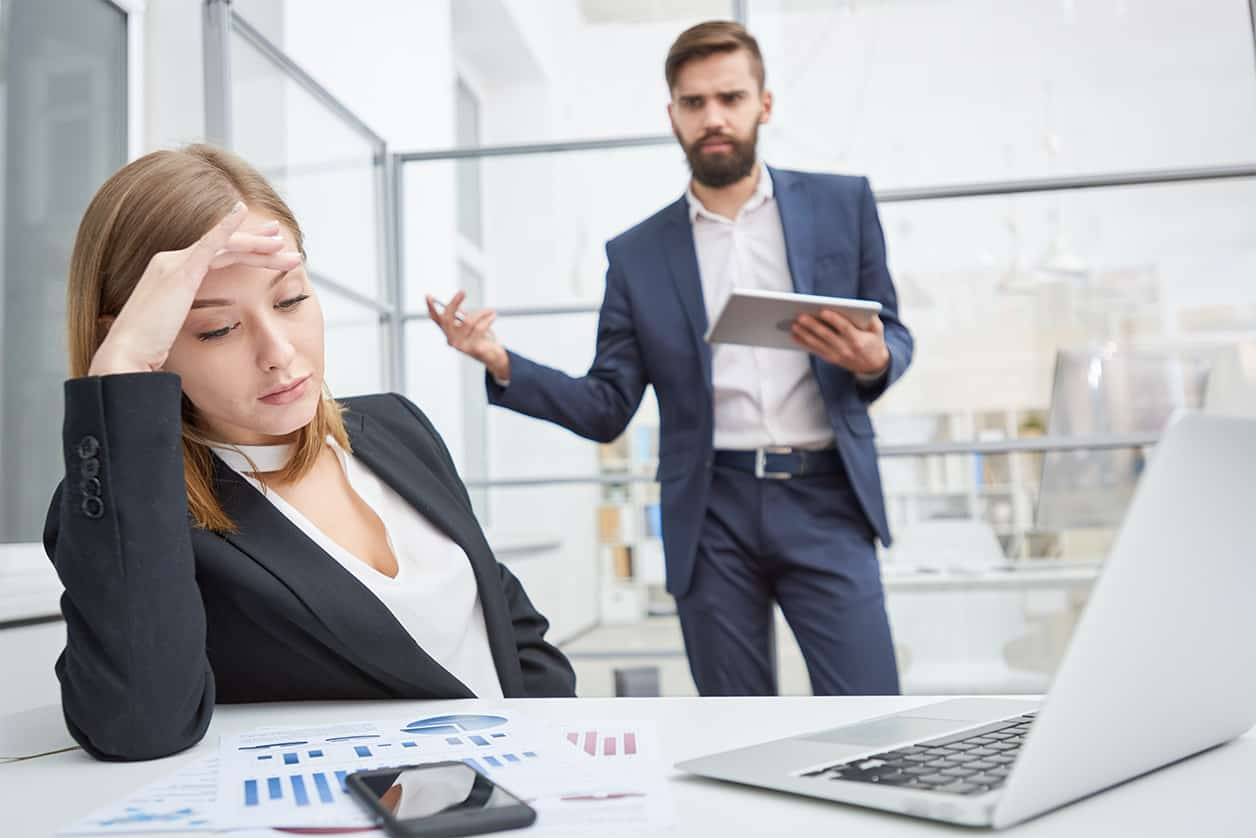 Displeased boss berating indifferent employee. Bosses are struggling to keep employee retention at their companies