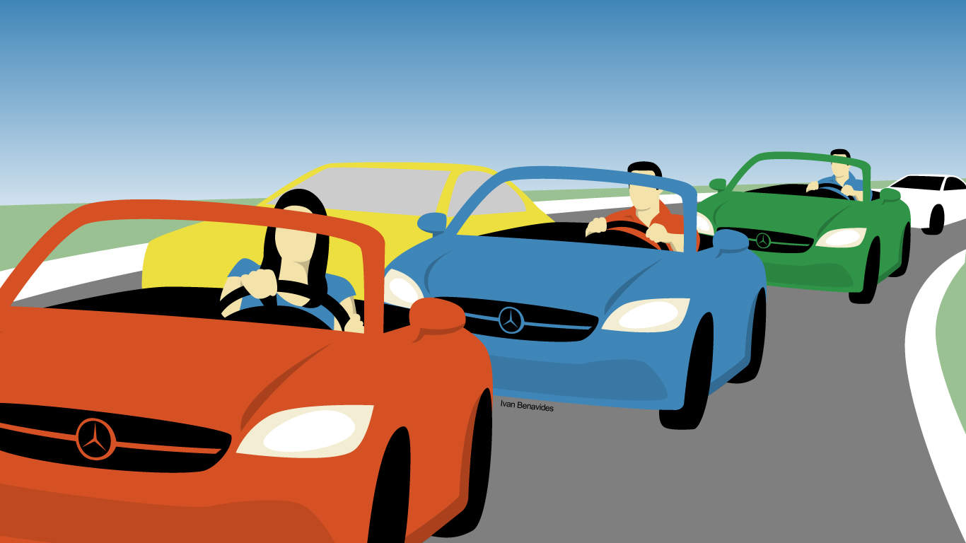 Illustration of three people driving Mercedes.