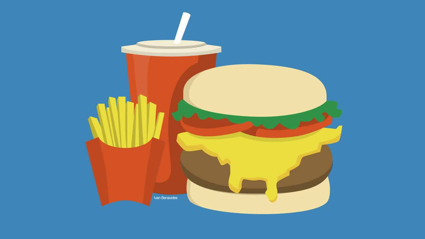 Illustration of burger, fries and soda