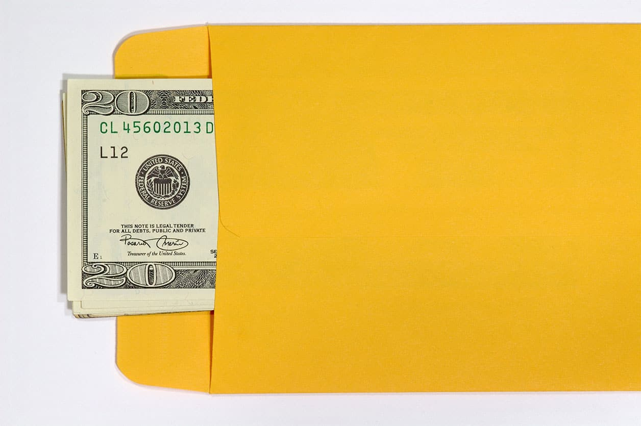 Money in an envelope used for a cash envelope system.