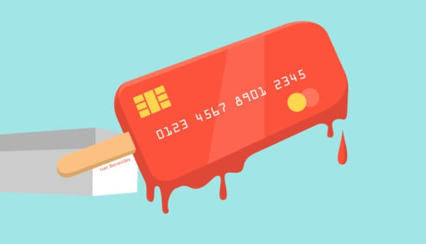 Illustration of an ice pop with credit card information. A depiction of a credit freeze.