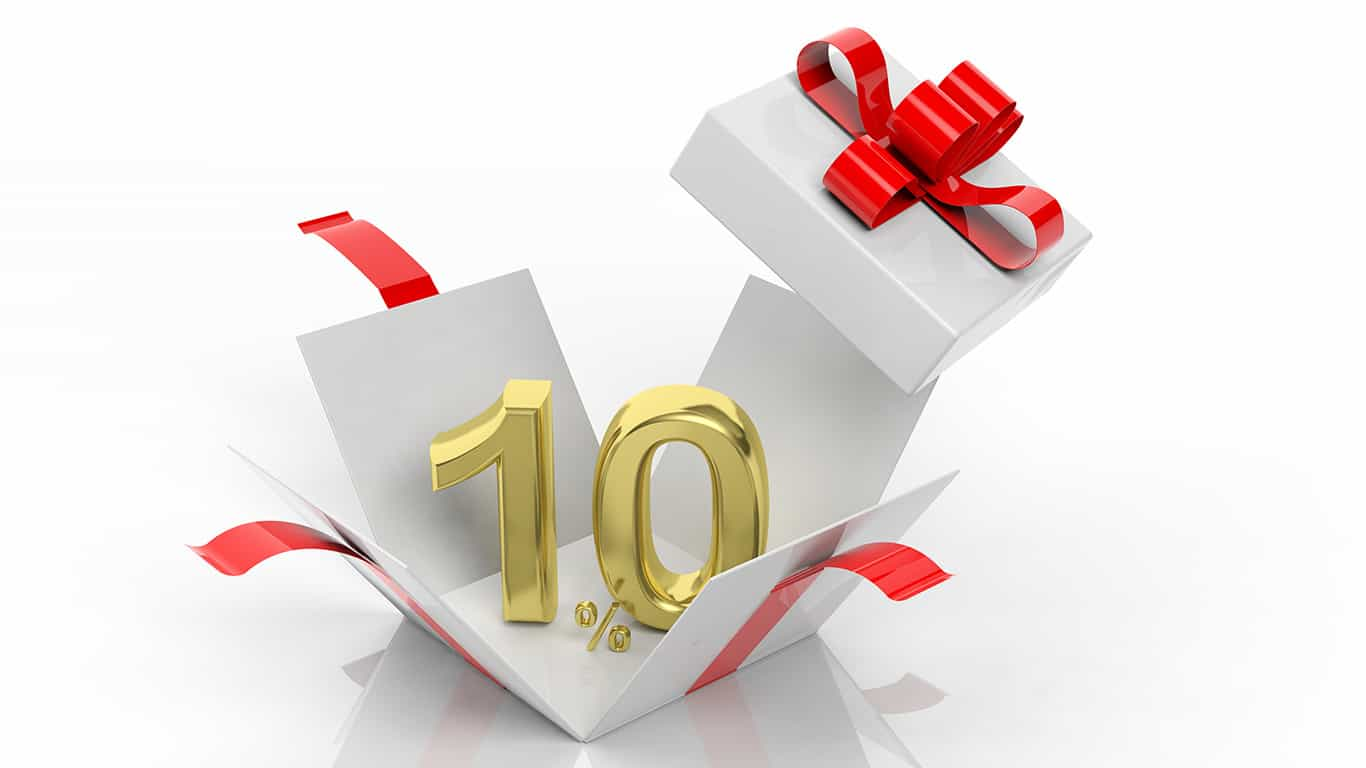 Open gift box with gold 10 percent number