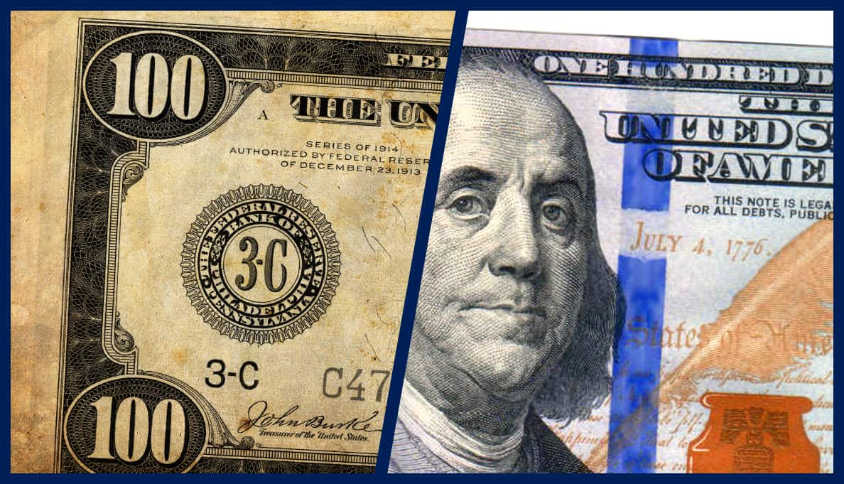 1900's US Currency vs. Modern US Legal Tender representing price increases over time