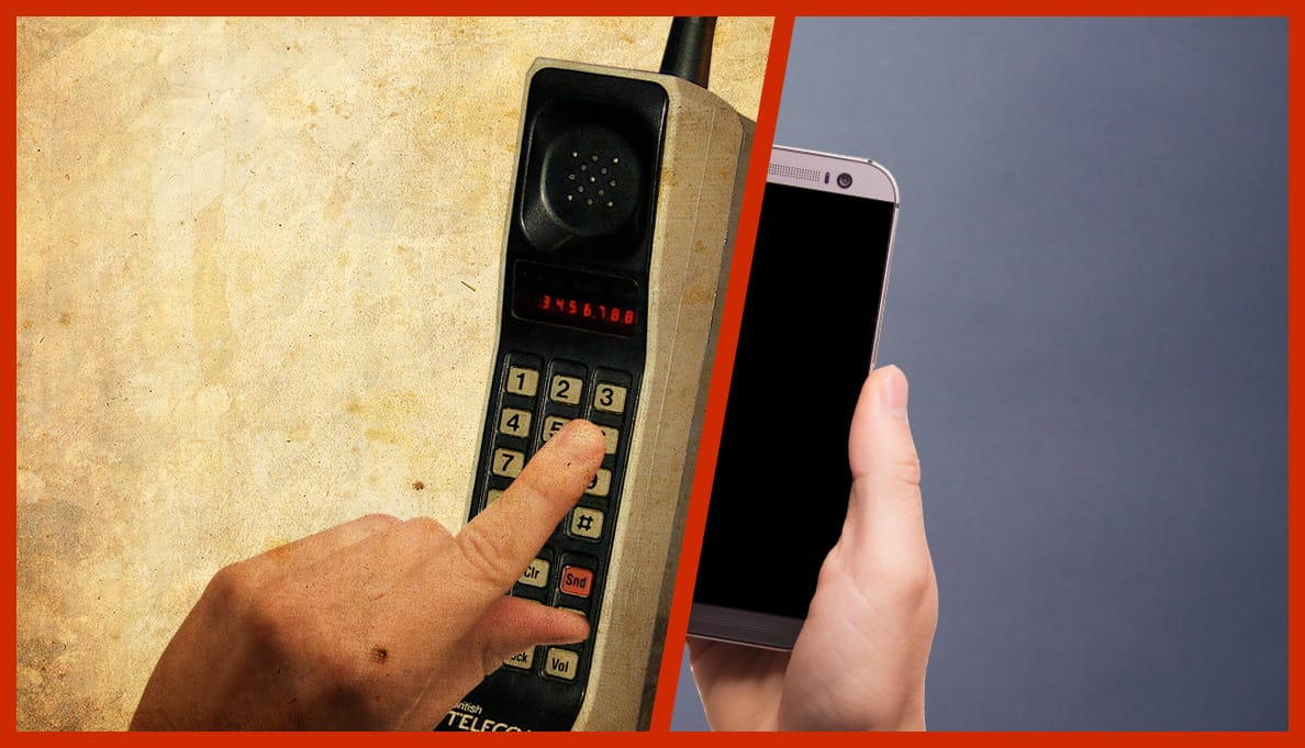 Motorola first handheld mobile phone and a Samsung Mobile Phone