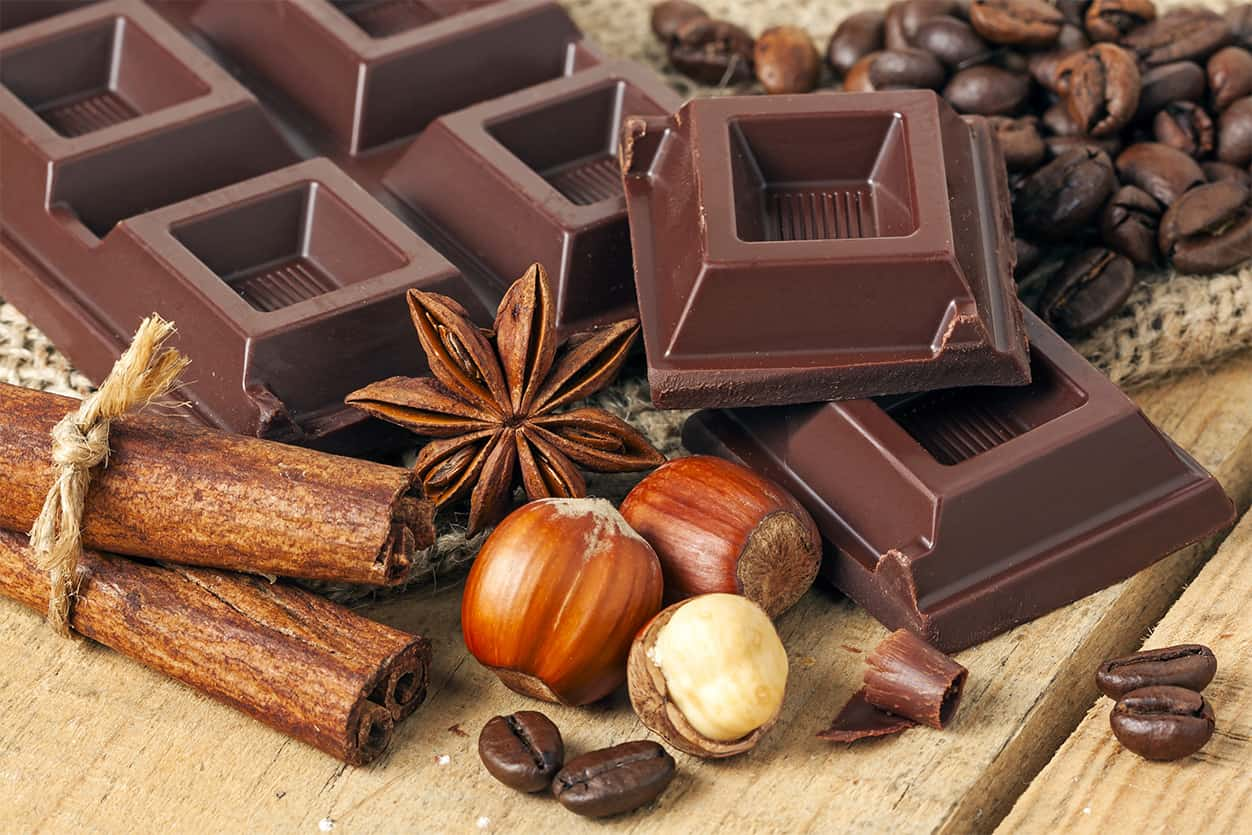 Chocolate on wood background