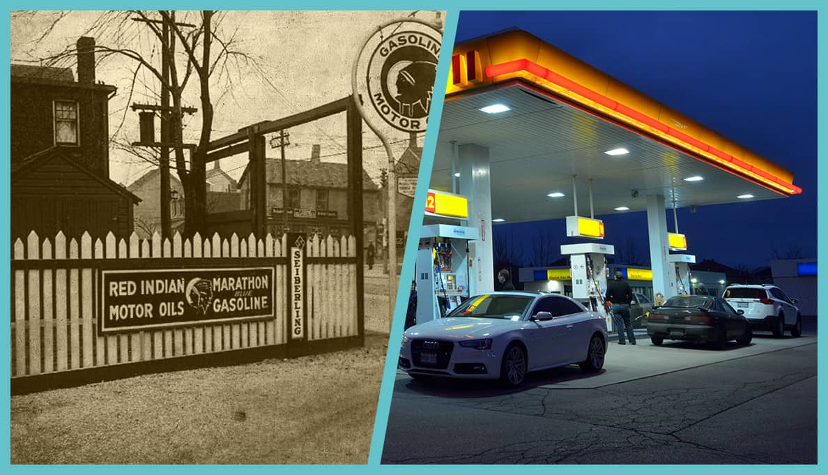 Gas station, past and present