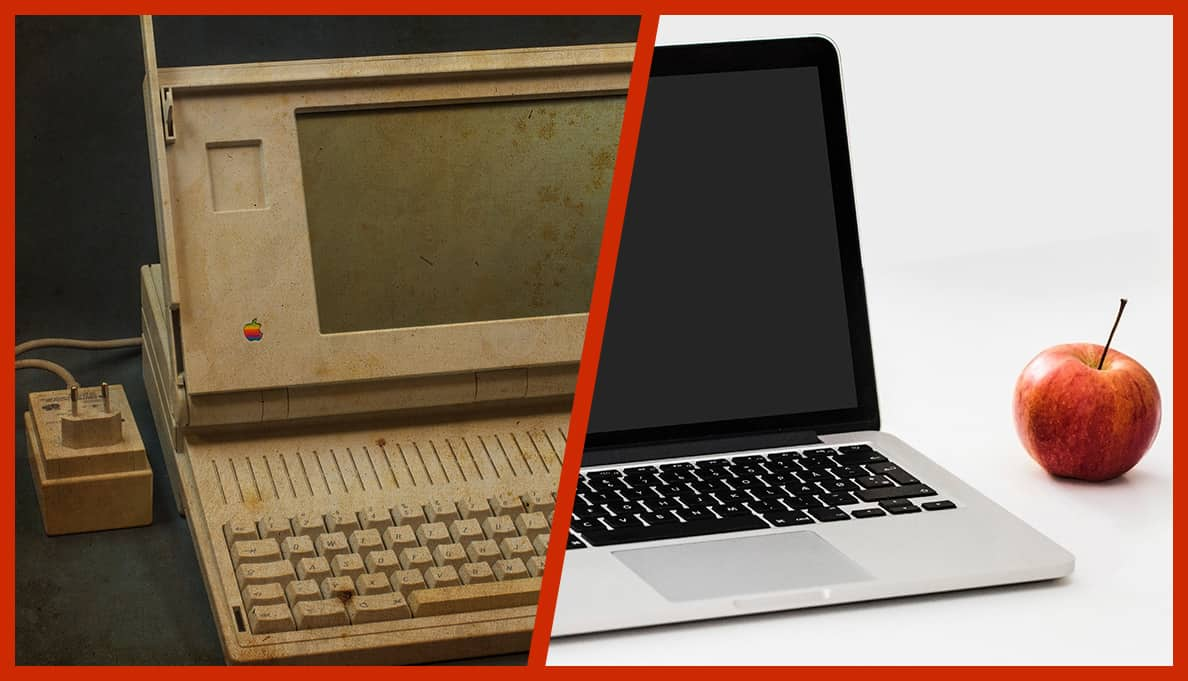Early Macintosh Portable and the Macbook of today