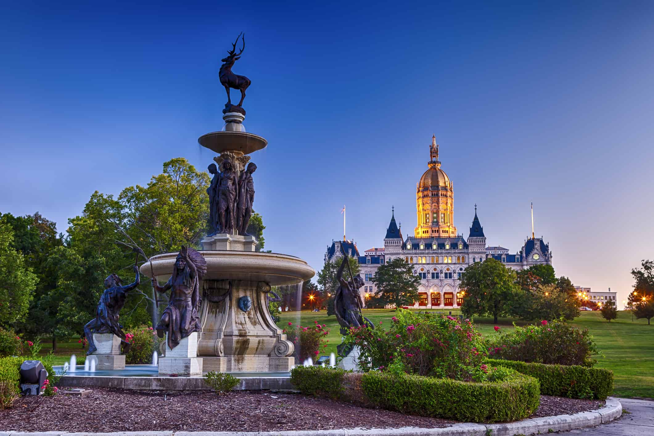 The Connecticut State Capitol building with the Corning Fountain in the foreground. The fountain was dedicated in 1899.