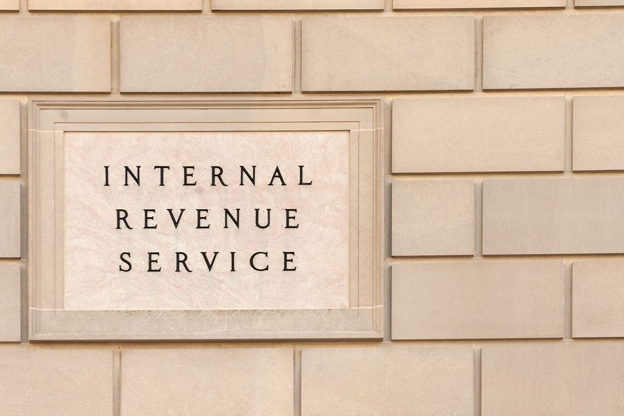Sign on IRS headquarter building
