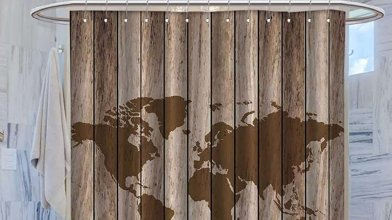 Vintage Old World Map Globe Wooden Antiqued Rustic Decor Cloth Shower curtainCurved Shower Curtain Rod