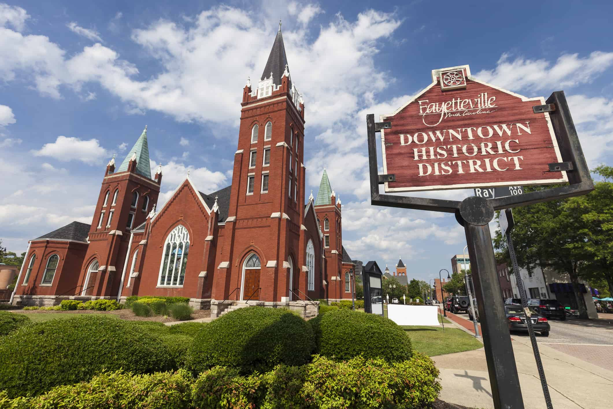 The Hay Street United Methodist Church in downtown Fayetteville, North Carolina was built in 1908.