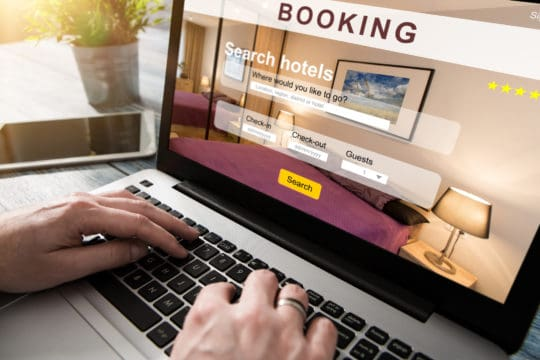 Marriott data breach: image of laptop with hotel information on screen.