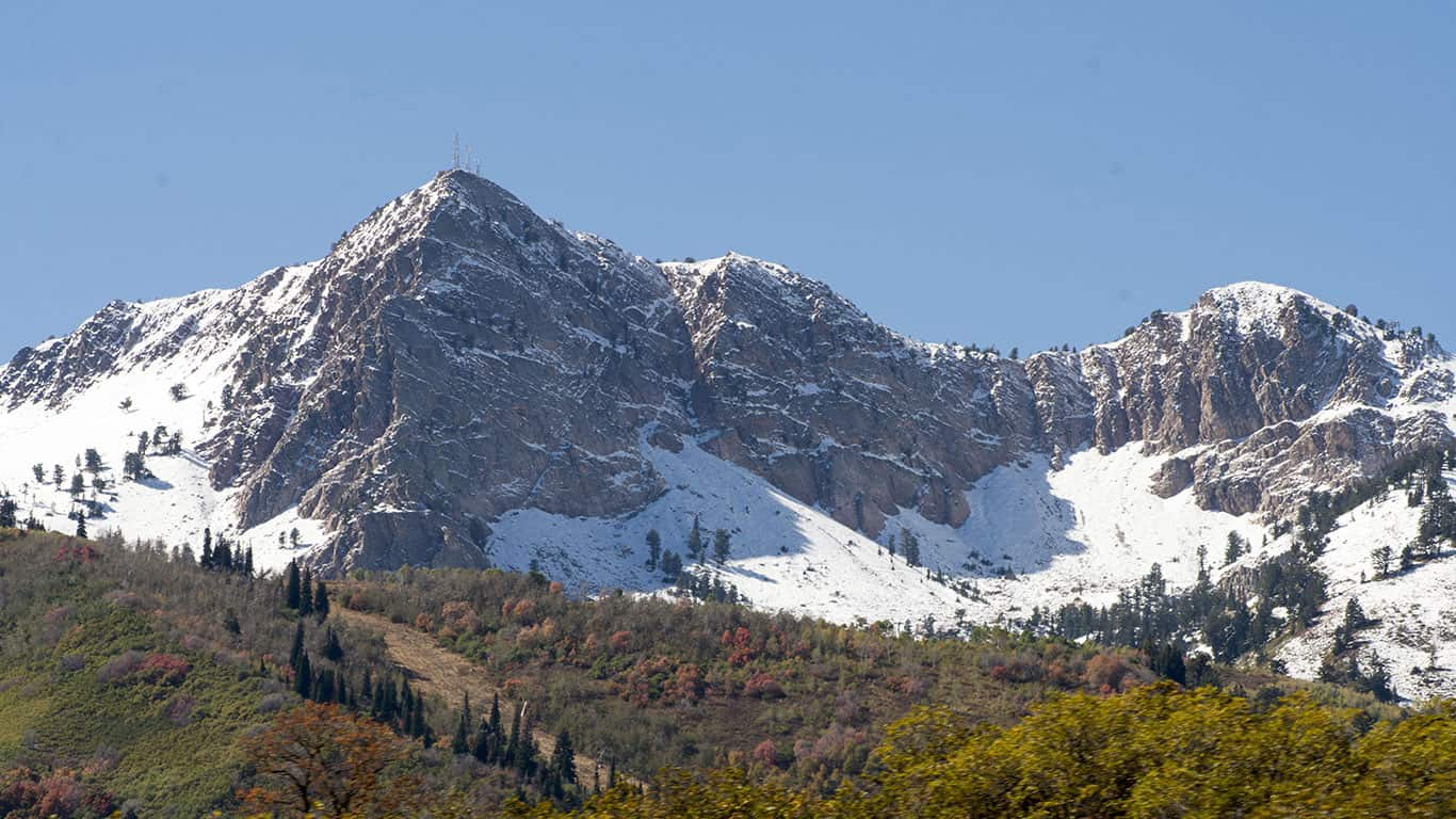 Ogden mountains with snow during the fall